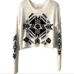 Hollister Aztec Fuzzy Eyelash Knit Cropped Sweater